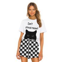 Cat Print Short Sleeve Home Wear Pajama Set TQK710038-7