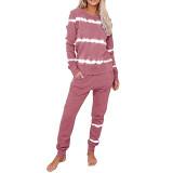 Pink Striped Long Sleeve Pant Set Loungewear TQK710110-10