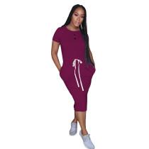 Purplish Elastic Waist Short Sleeve Casual Dress TQK310321-32