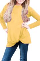 Mustard Twist Knot Detail Long Sleeve Girl's Top