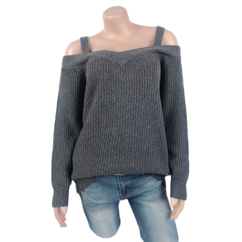 Dark Gray Cold Shoulder Long Sleeve Knit Sweater TQK271046-26