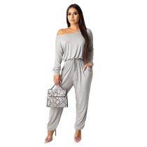 Solid Color Off Shoulder Gray Jumpsuit TQS550012-11