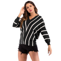 Black Stripes V Neck Bat Sleeve Knit Blouse GJZ00079-2