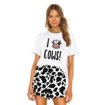 Cow Print Short Sleeve Home Wear Pajama Set TQK710038-4