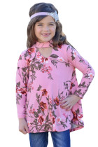 Pink Floral Key Hole Front Girl's Long Sleeve Top