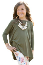 Olive Green Soft Cotton Long Sleeve Girl Top