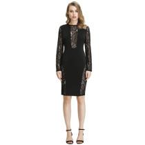 Black Lace Insert Slim fit Bodycon Dress TQS350010-2