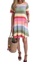 Purple Striped Color Block Casual T-Shirt Dress LC221263-8