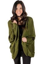 Army Green Dolman Sleeve Knit Cardigan with Pocket