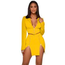 Yellow Button Details Blazer with Skirt Set TQS710027-7