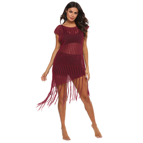 Wine Red Knitted Beach Cover Up TQS650021-103