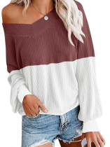 Rust Red White Color Block Off Shoulder Tops TQK210256-33
