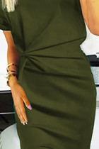 Green V Neck Cutout Inverted Pleat Bodycon Dress LC611641-9