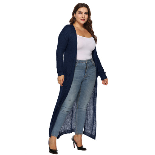 Navy Blue Split Plus Size Cardigan With Pockets TQK270039P-34