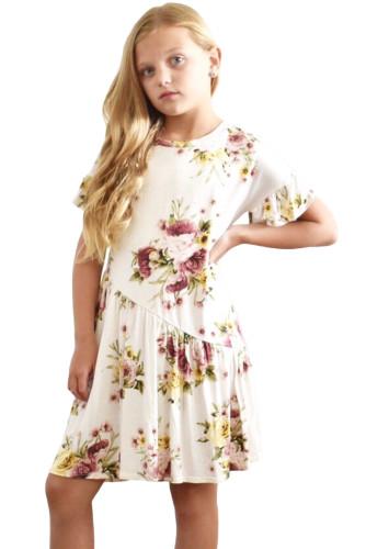 White Girls Floral Print Dress TZ22061-1
