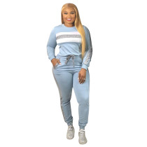 Blue Sequin Splice Sweatshirt with Pant Set TQS710021-5