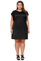 Black Flutter Sleeve Plus Size Shift Dress