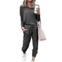 Dark Gray Long Sleeve Casual Top and Pant Set TQK710093-26