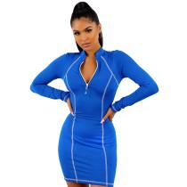 Blue 1/4 Zipper Bodycon Mini Dress TQK310216-5