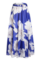 Blue Blossoming Floral Chiffon Maxi Skirt
