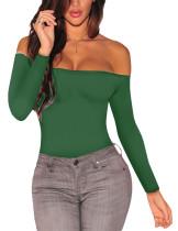 Green Off Shoulder Long Sleeves Bodysuit TQ00107-9