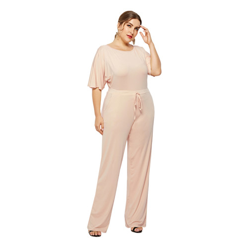 Apricot Wide Leg Plus Size Jumpsuit TQK550059-18