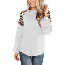 White Splice Leopard Long Sleeve Tops TQK210426-1