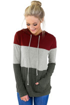 Burgundy Atop Triple Colorblock Pullover Hoodie