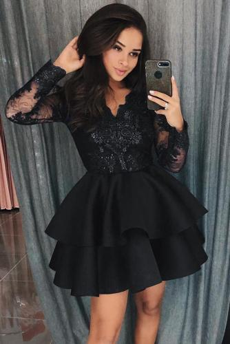 Black Sequin Embroidered Multilayer Skater Dress LC221048-2