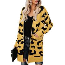 Yellow Leopard Print Down Pocketed Knit Cardigan TQK270056-7