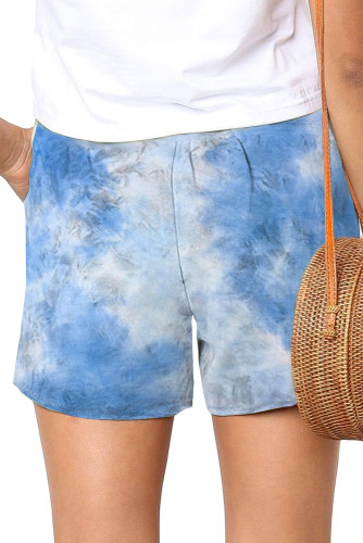 Sky Blue Tie Dye Casual Shorts LC77338-4