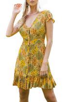 Yellow Vintage V-Neck Print Mini Dress LC220960-7