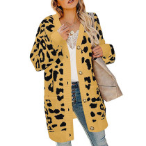 Yellow Leopard Print Button Down Cardigan TQK270055-7
