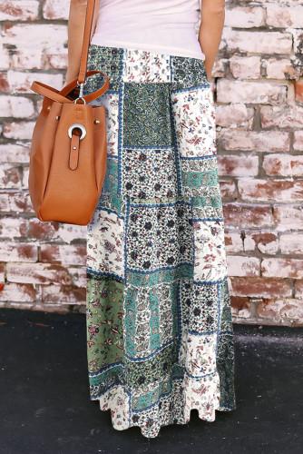 Green Boho Print Tie-Up Waist Long Maxi Skirt LC65265-9