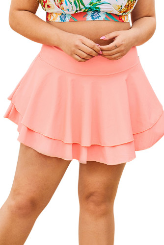 Pink Double-layered Ruffles Beach Skirt LC412131-10