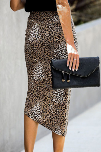 Bodycon Leopard Print Slide Hemline Midi Skirt LC65274-20