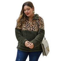 Leopard Print Splice Army Green Zip Collar Plus Size Sweatshirt TQK230102-27