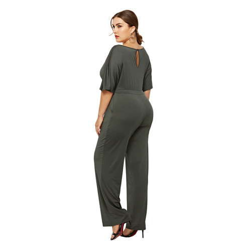 Army Green Wide Leg Plus Size Jumpsuit TQK550059-27