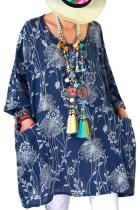 Blue Cotton Linen Tunic Top with Pockets LC252551-5