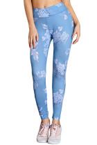 Blue High Waisted White Pattern Detail Stylish Leggings