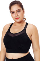 Black Mesh Strap Yoga Bra for Women