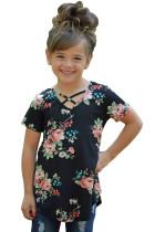 Black Crisscross V Neck Little Girl Floral Top
