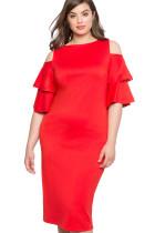Red Plus Size Flounce Sleeve Cold Shoulder Dress