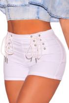 White Denim Double Lace Up Hot Shorts