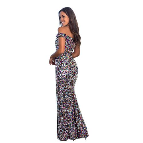 Multicolor Off Shoulder Sequin Split Evening Dress TQK310238-29
