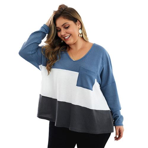 Blue Colorblock V Neck Plus Size Knit Sweater TQK270022-5