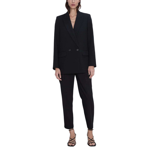 Solid Black Double Row Button Lady Blazer Suit TQK260037-2