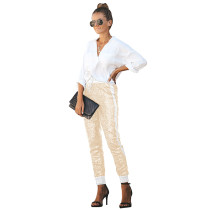 Yellow PU Elastic Sequin Pants TQK510015-7