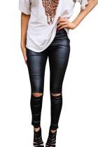 Black Skinny Faux Leather Leggings LC77093-2