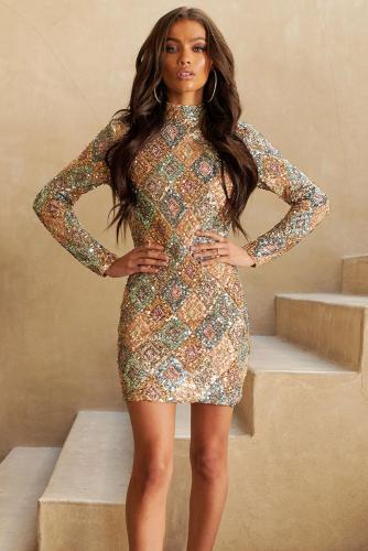 Aztec Sequin High Neck Mini Dress LC221085-22